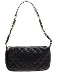 54eb4a92097502 Lyst - Chanel Lambskin Leather Silver Metal Chain Shoulder Bag Black ...