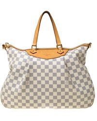 Louis Vuitton Damier Azur Canvas Siracusa Gm Bag - Gray