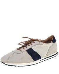 Tod's - Beige/blue Mesh And Nubuck Low Top Sneakers - Lyst