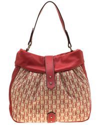 Carolina Herrera Red Canvas And Leather Monogram Hobo