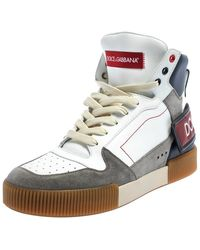 Dolce & Gabbana White/grey Leather And Suede High Top Sneakers