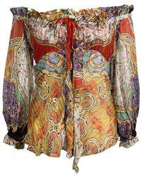 Roberto Cavalli Multicolour Floral Printed Silk Sheer Long Sleeve Blouse S