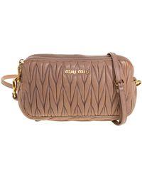 Miu Miu Beige Matelasse Leather Double Zip Crossbody Bag - Natural