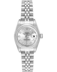 Rolex Silver Diamonds 18k White Gold And Stainless Steel Datejust 79174 Women's Wristwatch 26 Mm - Metallic