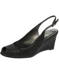 Stuart Weitzman Black Glitter Fabric Slingback Wedge Sandals