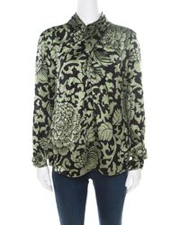 Temperley London Black And Green Floral Printed Textured Silk Faux Wrap Front Top