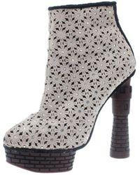 12df4bab6ea Cream Damsel In Distress Crocheted Ankle Boots Size 36.5 - Gray