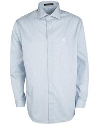 Roberto Cavalli And White Pinstriped Logo Embroidered Long Sleeve Button Front Shirt Xxl - Blue