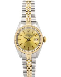 Rolex Champagne 18k Yellow Gold And Stainless Steel Datejust 6917 Wristwatch 26 Mm - Metallic