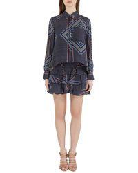 Derek Lam - 10 Crosby Blue Printed Silk Tiered Dress And Blouse Set - Lyst