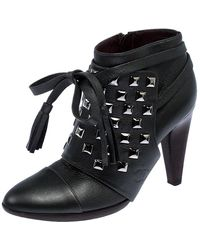 Chanel Metallic Gunpowder Leather Silver-tone Studded Ankle Tie Strap Ankle Boots Size 37