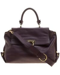 Ferragamo Purple Leather Medium Sofia Satchel