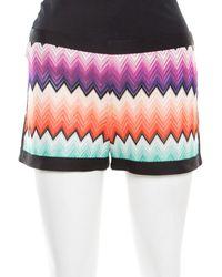 Missoni Multicolour Chevron Pattern Knit Contrast Trim Detail Mini Shorts
