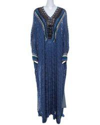 Missoni Navy Blue Lurex Knit Embellished Maxi Kaftan Dress M
