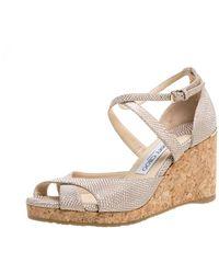 Jimmy Choo Beige Textured Cork Alanah Wedges Ankle Strap Sandals - Natural