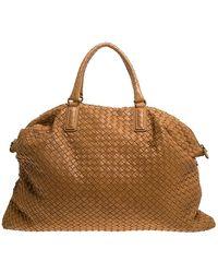 Bottega Veneta Cognac Intrecciato Leather Large Convertible Tote - Brown