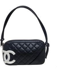Chanel Black Quilted Leather Cambon Ligne Pochette