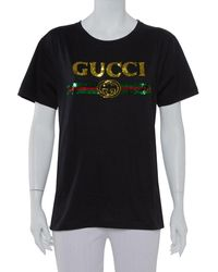 Gucci Black Cotton Sequin Embellished Tiger & Logo Detail Oversized T-shirt