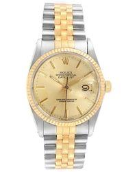 Rolex Champagne 18k Yellow Gold Stainless Steel Datejust 16013 Men's Wristwatch 36 Mm - Metallic