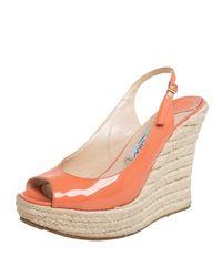 Jimmy Choo Orange Patent Leather Espadrille Wedge Slingback Sandals