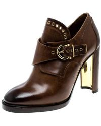 Ferragamo Brown Leather Nevers Buckle Detail Boots Size 39