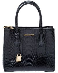 Michael Kors Black Snakeskin Small Mercer Tote