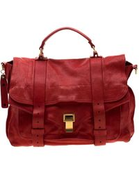 Proenza Schouler Red Leather Large Ps1 Top Handle Bag
