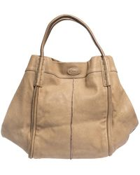 Tod's Beige Leather Shade Tote - Natural