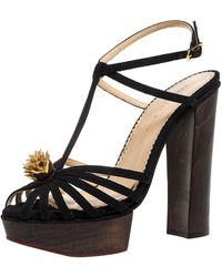 Charlotte Olympia Black Canvas Strappy Ankle Strap Platform Sandals