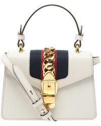Gucci Cream Leather Mini Web Sylvie Shoulder Bag - Natural