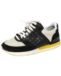 Bottega Veneta White/black Mesh And Suede Intrecciato Leather Lace Up Low Top Trainers