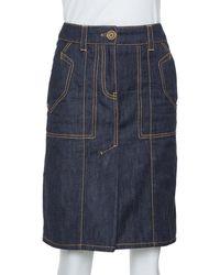 Louis Vuitton Dark Blue Denim Pleat Detail Skirt