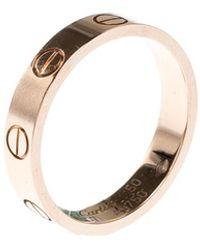Cartier Love 18k Rose Gold Mini Band Ring Size 50 - Metallic