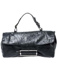 Givenchy Black Paisley Embossed Leather Top Handle Bag