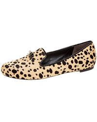 Tory Burch Beige/brown Cheetah Print Calf Hair Chandra Loafers Size 39