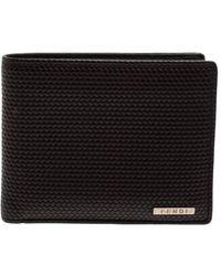 Fendi Dark Brown Woven Leather Bifold Wallet