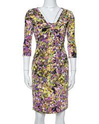 Roberto Cavalli Multicolor Printed Jersey Brooch Detail Dress