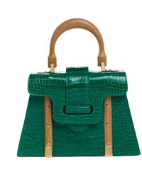 Goyard Green Crocodile Saigon Pm Top Handle Bag
