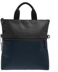 COACH Blue/grey Perforated Leather Charles Foldover Tote