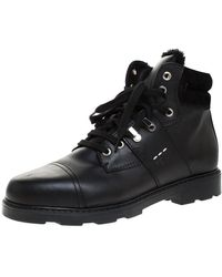 Fendi Black Leather And Fur Trim Lace Up Ankle Boots