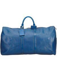 Louis Vuitton Blue Epi Leather Keepall 55