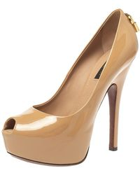 Louis Vuitton Beige Patent Leather Oh Really! Peep Toe Platform Pumps - Natural