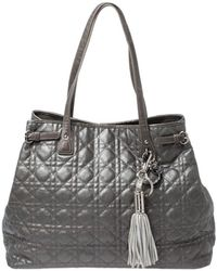 Dior - Metallic Grey Cannage Coated Canvas Large Panarea Tote - Lyst