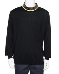 Fendi Black Wool Zucca Logo Collar Detail Sweater 3xl