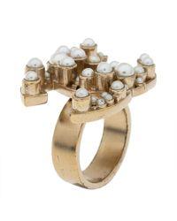 Chanel Cc Logo Faux Pearl Pale Gold Tone Ring - Metallic