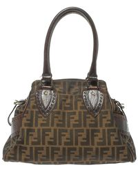 Fendi Tobacco Zucca Canvas And Leather Small Chef De Jour Bag - Brown