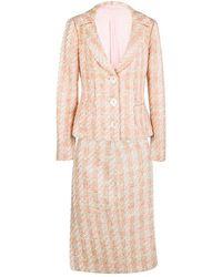 Michael Kors Pink Tweed Sequin Embellished Skirt Suit L