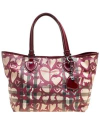 Burberry - Supernova Heart Check Coated Canvas And Patent Leather Large Tote - Lyst