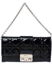 Dior Black Patent Leather Miss Chain Clutch