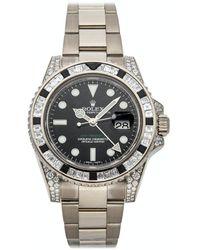 Rolex Black Diamonds 18k White Gold Gmt-master Ii 116759sanr Wristwatch 40 Mm